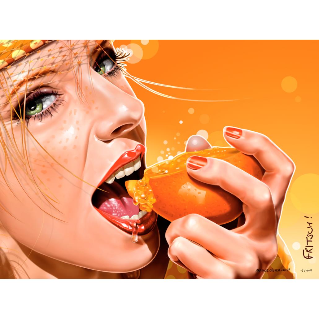 Digital painting Orange Crunch 100x75 orange