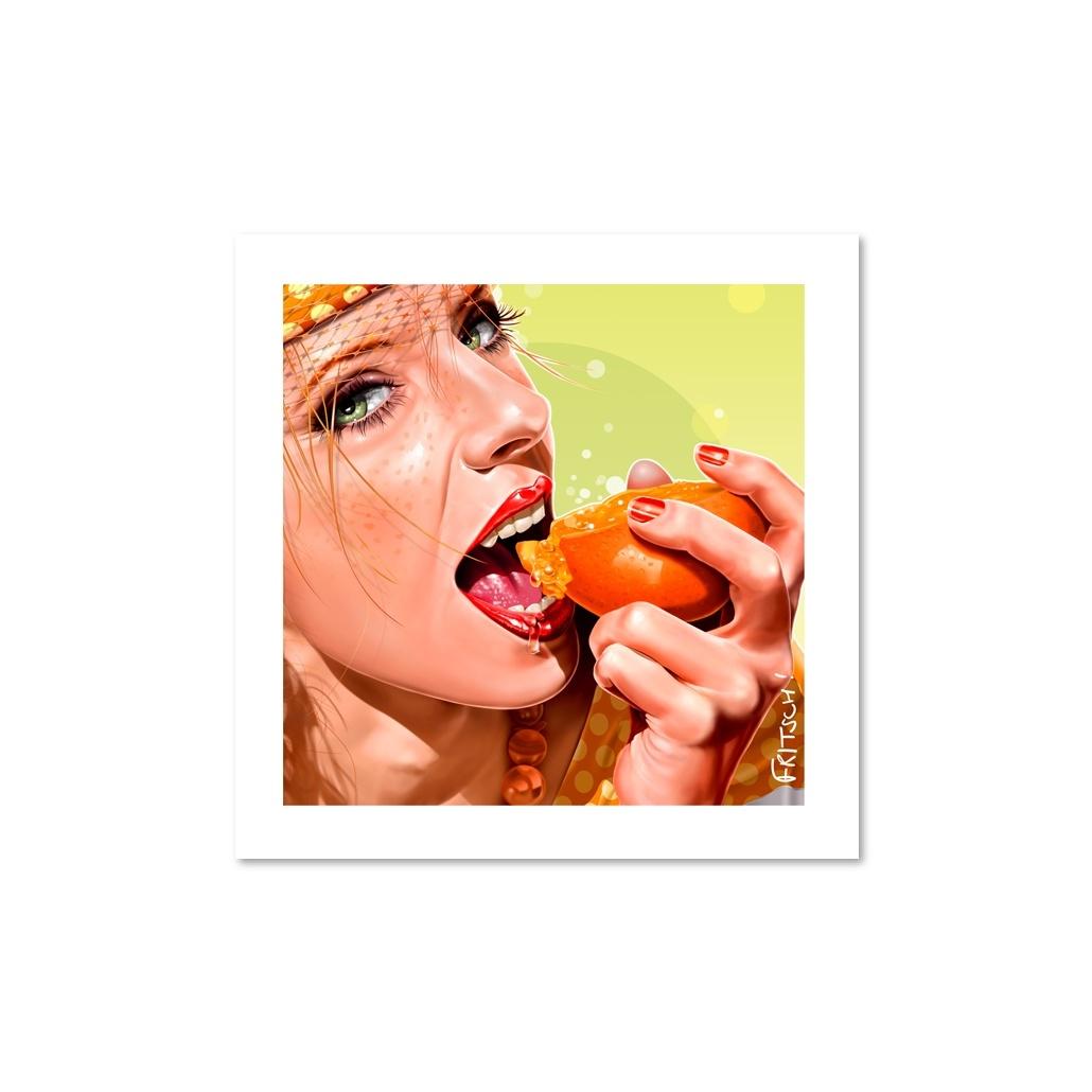 Vincent Fritsch Art, Orange Crunch Poster. Square Lime