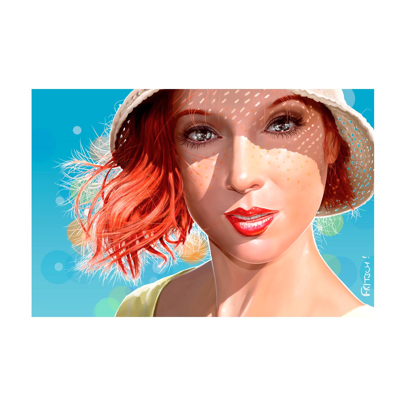 Vincent Fritsch peinture numérique Tableau acrylique Country Heart bleu