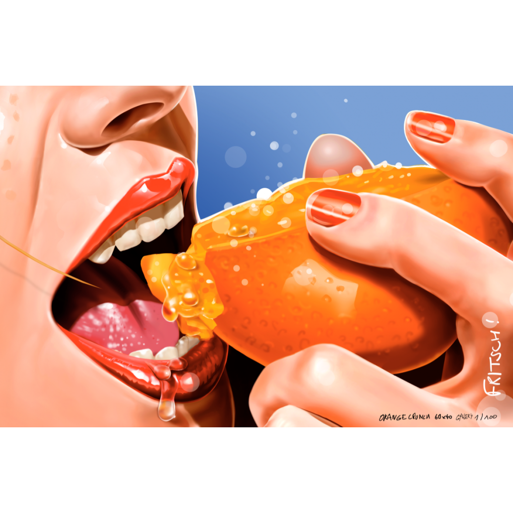 Vincent Fritsch digital painting. Orange Crunch Close Up wall-print. Blue